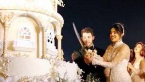 #प्रियंका-निक ने शादी में काटा 18 फीट लंबा केक