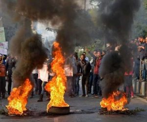 Violent protest in Assam, flights canceled, railway station attacked