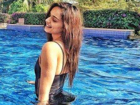 #ManushiChhillar's stunning look in a blue bikini, see ....