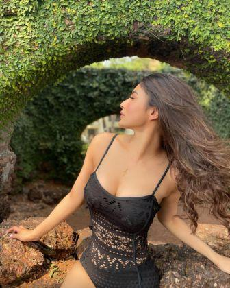 Mouni Roy's hot avatar in black swimsuit, pics
